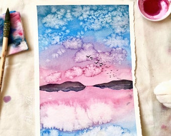 Pink sunset | Landscape | Mountains Original watercolor painting A5 | sunshin
