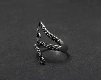 Stainless Steel Pirate Octopus Tentacles Black S-shaped One Size Ring