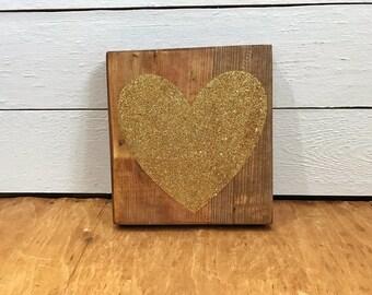 Gold Glitter Heart Sign, Glitter Heart Plaque
