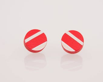 Bottonciotti--lobe Earrings red paper with white and cream texture, handmade, ecofriendly