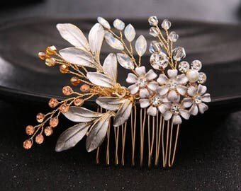 Bridal Wedding Gold Crystals Enamel Flowers Hair Comb