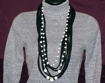 Black T-Shirt Necklace with White Beads