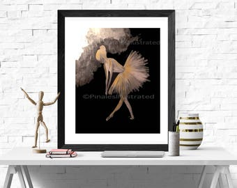 Ballerina Love, gifts for her, artwork, prints,personalized gifts,  home decor, office decor, PinalesIllustrated