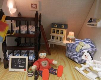 1:12 Scale new dolls house miniature bunk bed 3pcs