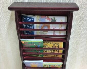Dolls House Miniature Magazine Rack with Magazines