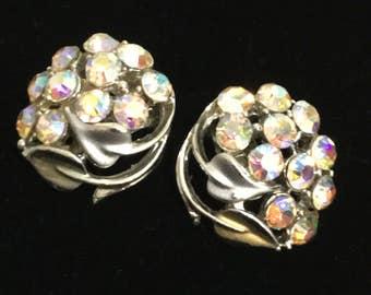 Beautiful Vintage BSK AB Rhinestone Clip On Earrings (1 inch in diameter)