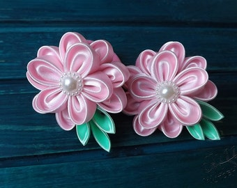 Rose spring kanzashi flowers hair tie