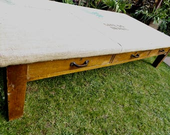 NOW ** SOLD ** Charming and Unique Large Hessian Top Coffee Table