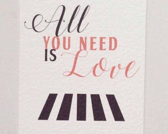 Beatles all you need is love wedding invitations wedding stationery save the date