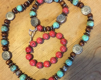 Bohemian necklace //accessories Necklace  bracelet set //jewelry set //beaded necklace beaded bracelet//  gypsy//Native American jewelry