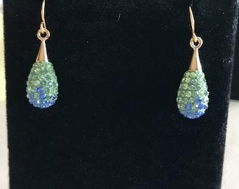 Sapphire and Peridot Swarovski Drop