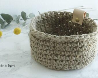 Crochet basket and leather, jute twine, brass rivet