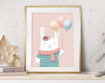 Nursery Bunny Pink, Nursery Art, Nursery Decor, Baby Pink Decor, Baby Gift, Nursery Prints, White Bunny, Pink Wall Art, New Baby Gift, Pink