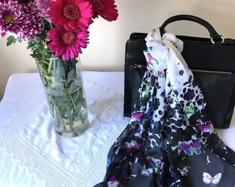 Chiffon - Women's Scarf - White - Spring/Summer - White/Black/Purple - Butterflies - Nature - Love -Wildlife - Gift - Elegant/Classic