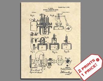 Patent Prints - Diesel Engine Patent Print - Vintage Diesel Classic Car Art - Classic Car Artwork Mechanic Gift Patent art - Wall Art - 140