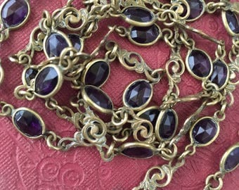 Victorian Super Long Pinchbeck & Amethyst Crystal Necklace