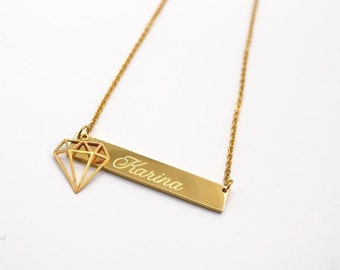 Diamond Charm Name Necklace Personalized Bar Necklace Gold Bar Necklace Initial Necklace Gold Necklace Personalized Necklace Name Necklace