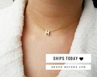 Custom Initial Necklace, Gold Letter Necklace, Letter Choker Necklace, Initial Choker, Monogram Necklace, Gold Initial Necklace, Sister Gift