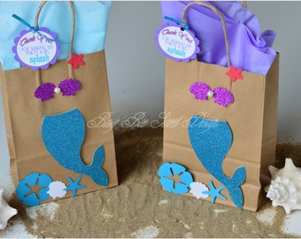 Ariel Favor Bags / Under the Sea Favor Bags / Princess Ariel Goody Bags / Under the Sea Party Theme/ Ariel Party Theme