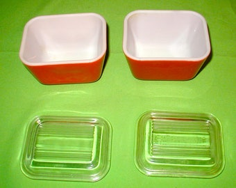 Small Pyrex storage containers clear lids vintage original made in USA rare perfect shape RED