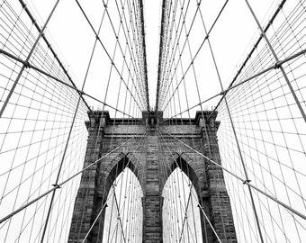 Contemporary Brooklyn Bridge Photo Print // New York City Photography // Manhattan Photography // Black and White // Mid Century Modern Art