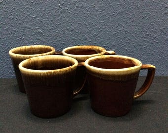 Vintage McCoy Brown Drip Mugs, Set of Four