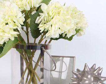 """Luxury Silk Hydrangea Stem in White 18"""" Tall"""