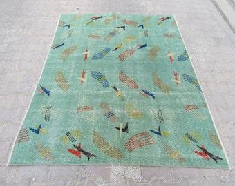 5x6.5 Ft Color of the year greenery vintage Turkish Zeki Muren art deco rug