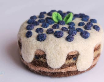 Needle Felted Blueberry Cream Cake, Needle Fleted Food, Cream Fruit Cake, Felted Waldorf Toys, Original Art, Waldorf inspired