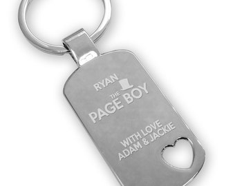 Personalised engraved PAGE BOY keyring wedding gift, thank you favour, top hat, heart cut out - HA6