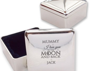 Personalised engraved MUM MUMMY square shaped trinket box gift idea, love you to the moon & back - LM1
