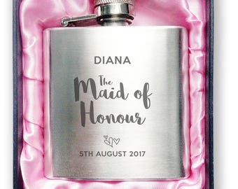 Personalised engraved MAID OF HONOUR stainless steel hip flask wedding thank you, hen party gift, handbag sized + presentation box - 3WD3