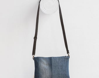 hand bag crossbody recycled denim with piñatex handle