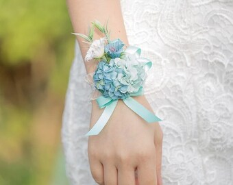 Bridesmaid Wrist Corsage, Wedding Flowers, Wedding Corsage, Blue Corsage, Blush Corsage, Prom Corsage