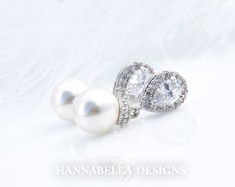 Victoria - Bridal Earrings, Wedding Earrings, Teardrop Earrings, Crystal Drop Earrings, CZ Dangle Earrings, Silver Wedding Earrings