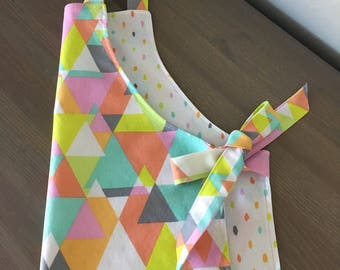 Size 3-5 yr old Colorful Polkadot and Geometrical, Double Sided Apron