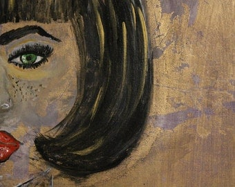 Painting on canvas portrait style with gold leaf
