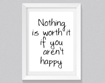 """Be Happy, Inspirational Wall Art Quote Print, """"Happy"""" Printable Black and White Wall Art Prints, Motivational Wall Decor, Wall Art Digital"""