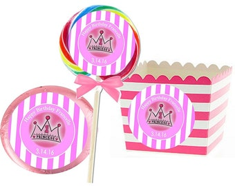 """Pink Princess Sticker Labels for Girls Birthday (Stickers Only, Favors not Included) (SET OF 12, 3"""" Round Labels)"""