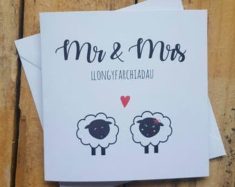 Welsh Mr and Mrs wedding card - congratulations wedding - llongyfarchiadau wedding card - sheep couple - farmer card - wedding - handmade