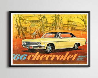 1966 Chevy Owner's Manual POSTER! - Design - Antique - Pop Art - Original Owner's Manual - Chevrolet - Wall Art - Vintage