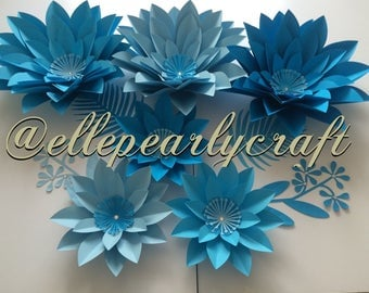 Three Shades of Blue Paper Flowers.