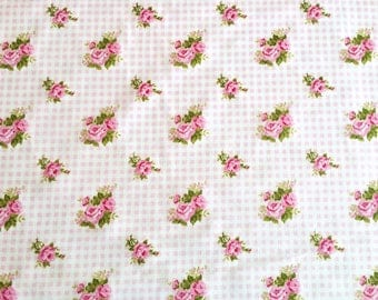 Cotton fabric pink roses pattern, roses pattern fabric, pink fabric, floral pattern fabric, check fabric, flower print fabric