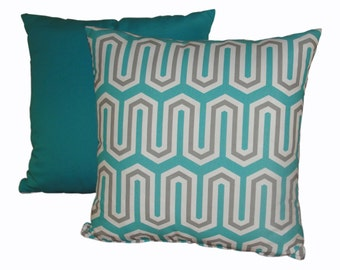 Aqua & Grey Throw Pillow Covers / Print Pillow Covers / Decortaive Pillow Covers / Throw Pillow Covers / Custom Sizes Available