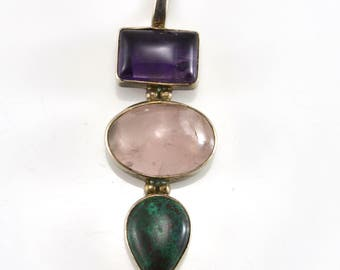 Amethyst Pendant, Rose Quartz, Malachite, Sterling Pendant
