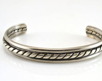 Cuff Bracelet, Southwestern, Sterling Silver, Vintage Bracelet