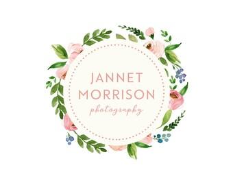 premade logo, photography logo design, floral logo, circle logo, watercolor floral logo, business branding, photography watermark 001