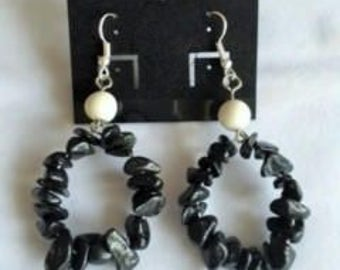 Handcrafted black and white stone earrings