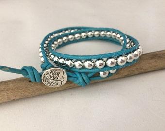 Fashionable Leather Wrap Bracelet