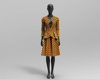 Custom Made African Print Skirt Suit